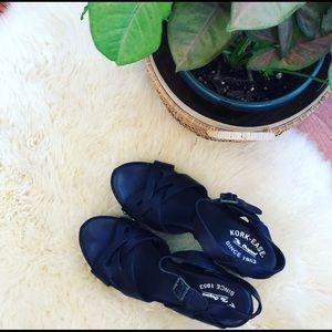 Black Leather Kork-Ease studded sandals